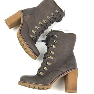 Ugg Fabrice leather wool platform ankle boots